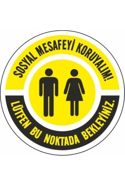 DMR Sosyal Mesafeyi Koruyunuz Zemin Uyarı Etiket ve Sticker 25 x 25 cm 5'li Paket