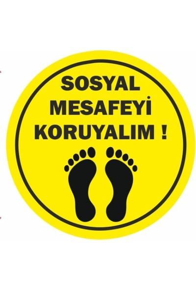 DMR Sosyal Mesafeyi Koruyunuz Zemin Uyarı Etiket ve Sticker 25 x 25 cm 20'lu Paket