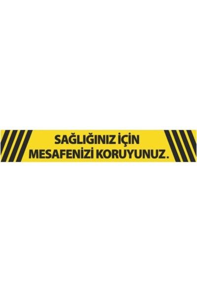 DMR Sosyal Mesafeyi Koruyunuz Zemin Uyarı Etiket ve Sticker 80 x 15 cm 10'lu Paket