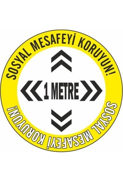 DMR Sosyal Mesafeyi Koruyunuz Zemin Uyarı Etiket ve Sticker 25 x 25 cm 10'lu Paket