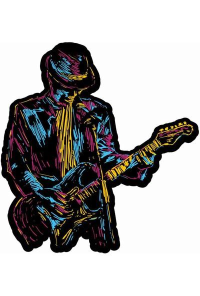 Sticker Atölyesi Müzik - Gitar - Rock - Blues Sticker - 19081 Renkli 6 x 5.5 cm