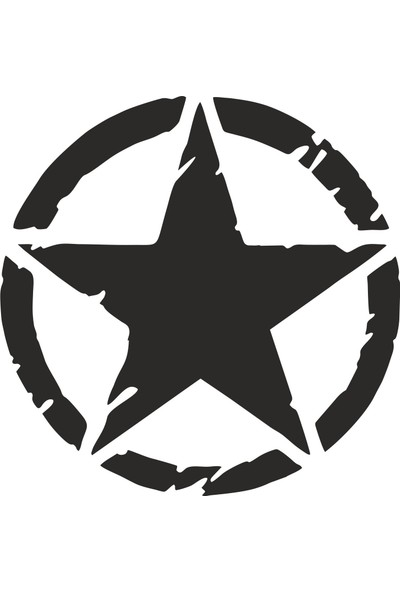 Sticker Atölyesi Siyah Eskitme Askeri Yıldız - 20516-6 Siyah 30 x 30 cm