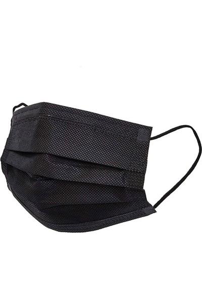 Cev Mask Siyah Tek Kullanımlık 3 Katlı Telli Cerrahi Maske 50 Adet 2'li