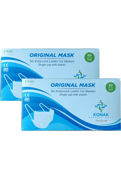 Original Mask Tek Kullanımlık 3 Katlı Telli Cerrahi Maske 50 Adet - 2'li
