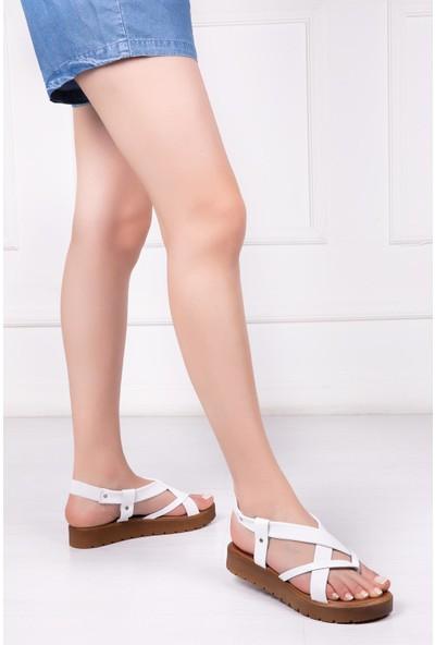 Deripabuc Hakiki Deri BEYAZ Kadın Sandalet RMA-3166