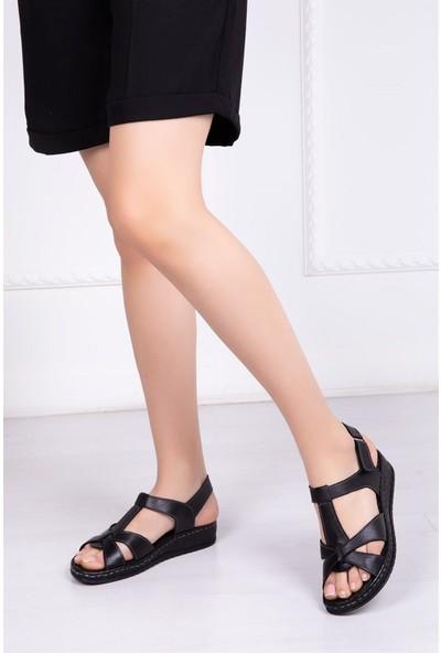 Deripabuc Hakiki Deri SİYAH Kadın Sandalet CRZ-0551