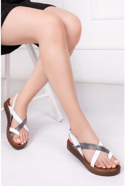 Deripabuc Hakiki Deri BEYAZ X3 Kadın Sandalet DP-1074