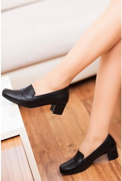 Deripabuc Hakiki Deri SİYAH Kadın Topuklu Ayakkabı DP02-0275