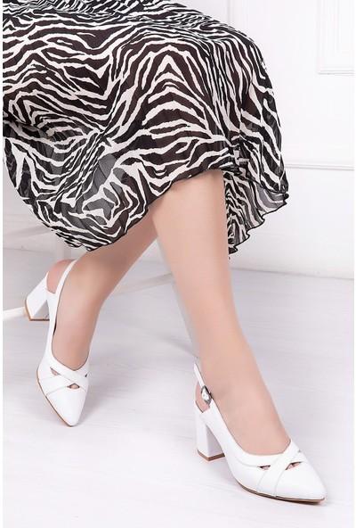 Deripabuc Hakiki Deri BEYAZ Kadın Topuklu Klasik Ayakkabı SHN-0738