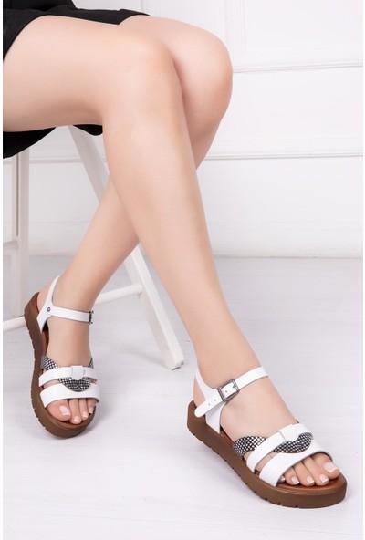 Deripabuc Hakiki Deri BEYAZ X3 Kadın Sandalet DP-1014