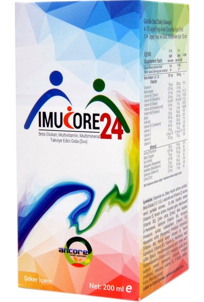Ancore Imucore24 Beta Glukan, Multivitamin, Multimineral Takviye Edici Gıda - 200 ml