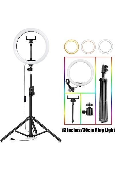 """Kyrotech Ring Light LED Sürekli Işık 12"""" Youtuber Light Kuaför Işığı Işık Ayaklı Tripod"""