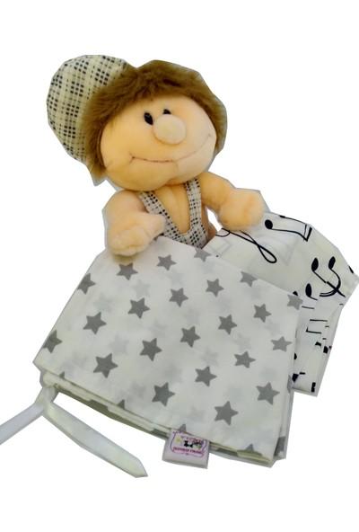 Pafuli El Yapımı 2'li Bebek Kıyafet Kesesi Gri Yıldızlar - Notalar