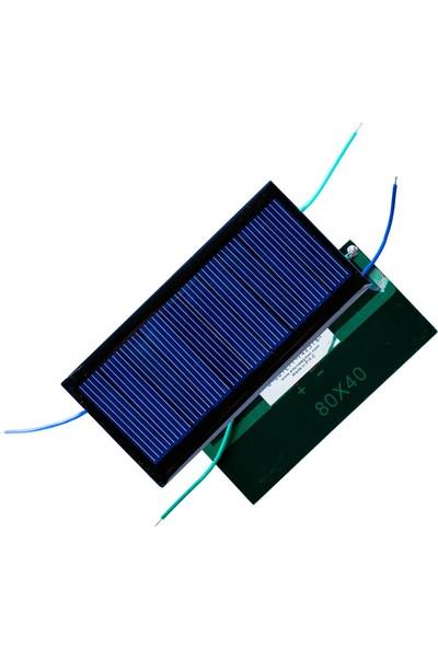 Emay Center Küçük Mini Güneş Paneli 8 x 4 cm 4,5V 0,5A + ve - Uç Kablolu