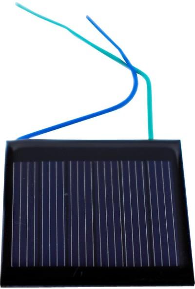 Emay Center Küçük Mini Güneş Paneli 4 x 4 cm 3V 0,1A + ve - Uç Kablolu