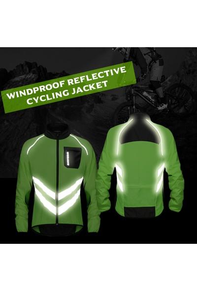 Wosawe Erkek Rüzgar Geçirmez Bisiklet Ceket Son Derece Görünür