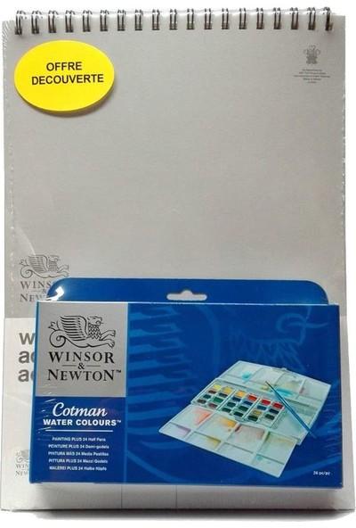Winsor & Newton Winsor&newton Cotman Sulu Boya 24LÜ Yarım Tablet + Defter Hediyeli 26X36CM