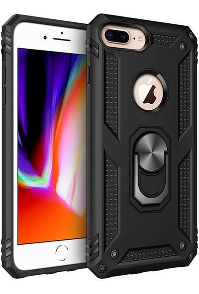 Herdem Apple iPhone 8 Plus Kılıf Yüzüklü Çift Katmanlı Zırh Tam Koruma Silikon - Siyah