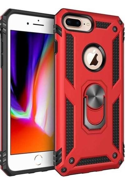 Herdem Apple iPhone 7 Plus Kılıf Yüzüklü Çift Katmanlı Zırh Tam Koruma Silikon - Kırmızı