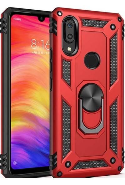 Herdem Huawei Y6 2019 Kılıf Yüzüklü Çift Katmanlı Zırh Tam Koruma Silikon - Kırmızı