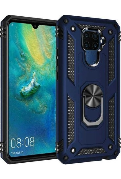 Herdem Huawei Mate 30 Lite Kılıf Yüzüklü Çift Katmanlı Zırh Tam Koruma Silikon - Lacivert