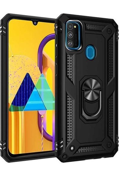 Herdem Samsung Galaxy M30S Kılıf Yüzüklü Çift Katmanlı Zırh Tam Koruma Silikon - Siyah