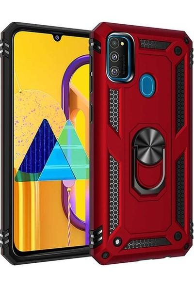 Herdem Samsung Galaxy M30S Kılıf Yüzüklü Çift Katmanlı Zırh Tam Koruma Silikon - Kırmızı