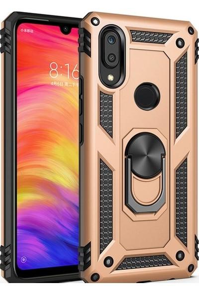 Herdem Samsung Galaxy M20 Kılıf Yüzüklü Çift Katmanlı Zırh Tam Koruma Silikon - Gold