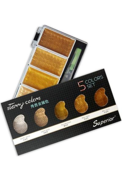 Superior Yaldızlı Sulu Boya 5li Set GB 21027