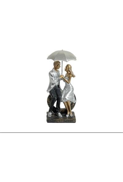 Zücev 27x11cm Şemsiye Altında Bankta Oturan Çift