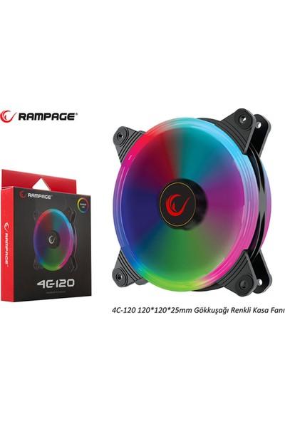 Rampage 4C-120 12cm Double Ring 5 Renk Ledli Gökkuşağı Rainbow Kasa Fanı