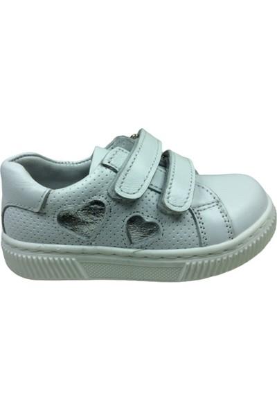 Cici Bebe Çocuk Spor Ayakkabı Beyaz Kalpli Cırtlı Deri