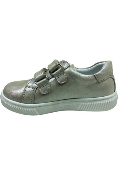 Cici BebePatik Kız Çocuk Spor Ayakkabı Pudra Simli Kalpli Cırtlı Deri