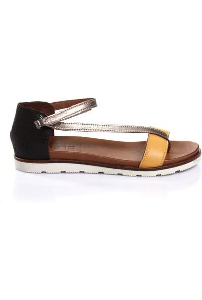 Bueno Shoes Trok Detaylı Hakiki Deri Kadın Düz Sandalet 9N1703