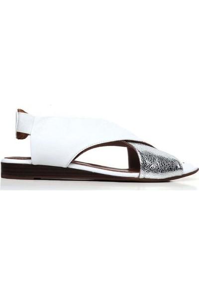 Bueno Shoes Desenli Hakiki Deri Kadın Düz Sandalet 9N1905