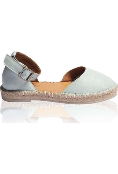 Bueno Shoes Tabanı Hasırlı Hakiki Deri Kadın Düz Sandalet 9N3108
