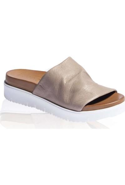 Bueno Shoes Önü Açık Hakiki Deri Kadın Dolgu Topuk Terlik 9N3400