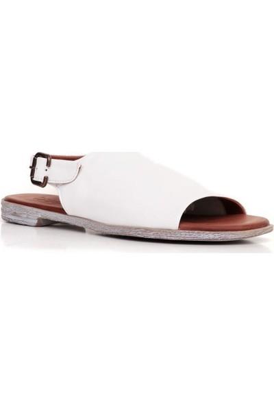 Bueno Shoes Önden Açık Hakiki Deri Kadın Düz Sandalet 9N5000