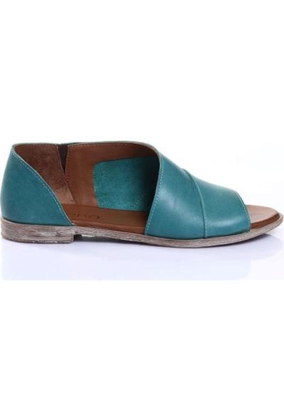 Bueno Shoes Ucu Açık Hakiki Deri Kadın Düz Sandalet 9N5013