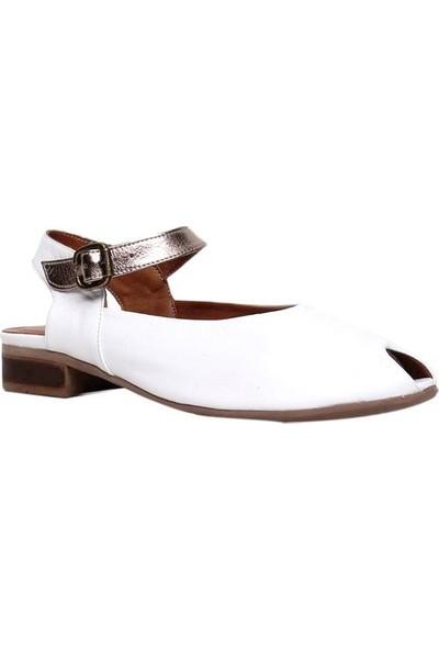 Bueno Shoes Ucu Açık Hakiki Deri Kadın Düz Sandalet 9N5110