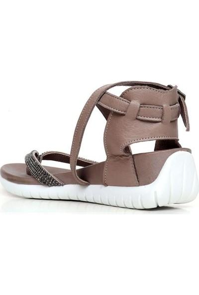 Bueno Shoes Ince Şeritli Hakiki Deri Kadın Düz Sandalet 9N7103