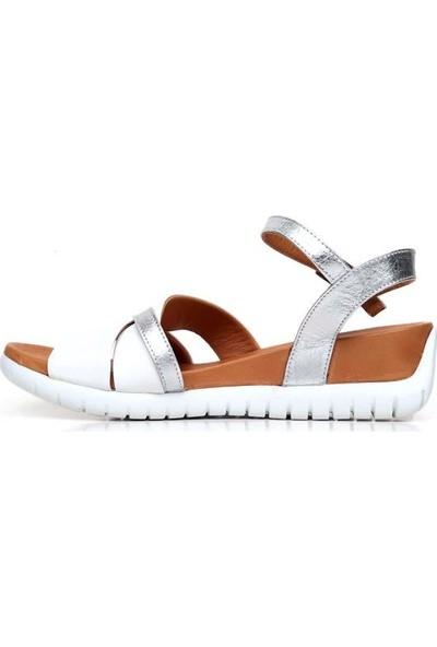 Bueno Shoes Çift Renk Hakiki Deri Kadın Düz Sandalet 9N7105