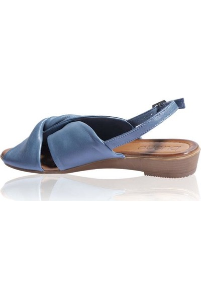 Bueno Shoes Önden Açık Hakiki Deri Kadın Düz Sandalet 9N7203