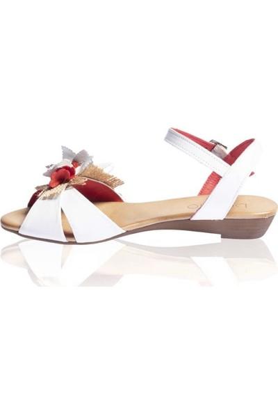 Bueno Shoes Çiçek Detaylı Hakiki Deri Kadın Düz Sandalet Nırvana