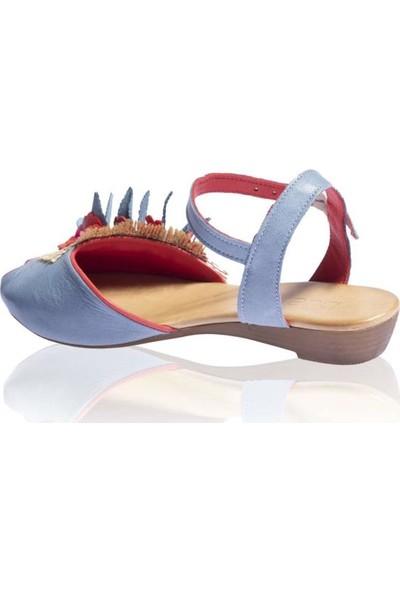 Bueno Shoes Çiçek Detaylı Hakiki Deri Kadın Düz Sandalet Nomea