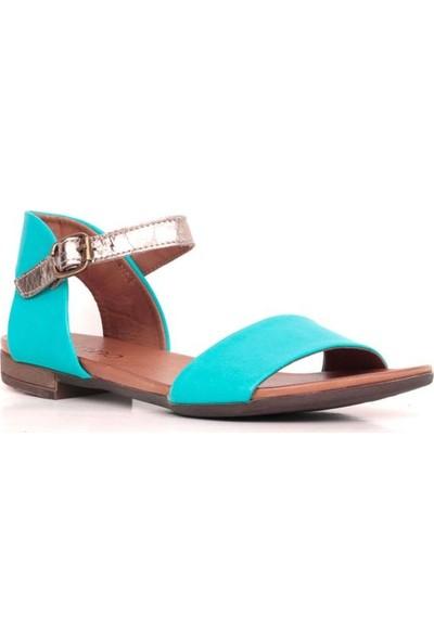 Bueno Shoes Topuktan Açık Hakiki Deri Kadın Düz Sandalet 9J2221