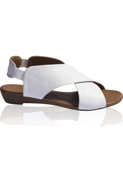 Bueno Shoes Bilek Lastikli Hakiki Deri Kadın Düz Sandalet 9L2408