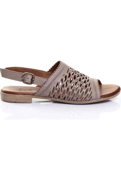 Bueno Shoes Delik Desenli Hakiki Deri Kadın Düz Sandalet 9L2707