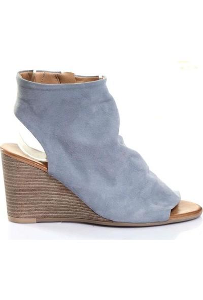Bueno Shoes Fermuar Hakiki Deri Kadın Dolgu Topuk Sandalet 9N1400