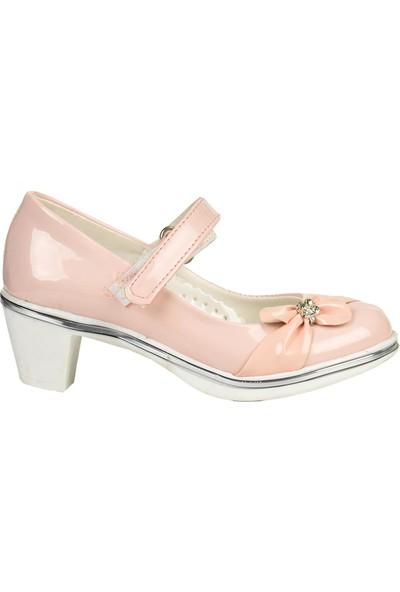 Alens 2815 Pudra 5 cm Topuklu Cırtlı Kız Çocuk Ayakkabı